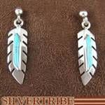 Genuine Sterling Silver Turquoise Feather Earrings