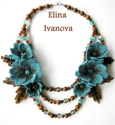 "Beaded Flower necklace ""October"", exclusive handmade bib necklace 2014, blue, brown, nature style jewelry"