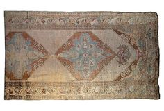 """""""Low-pile antique Oushak rug with warm ivory tones. Washed subtle color with minimal touches of blue, pink, and tobacco throughout. Fantastic for a hallway or at the foot of a bed."""" Antique Oushak Rug, 10'10"""" x 3'7"""" on OneKingsLane.com"""
