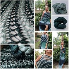 The Simply Striped Lace Shawl is another easy project in Kristin Omdahl Yarns Spring 2016 Collection. This is a 2-skein project featuring Be So Sporty Yarn, in Jaded Peacock and Harbor Fog.