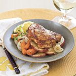 Chicken thighs with carrots and potatoes. Just put this in the crock pot!