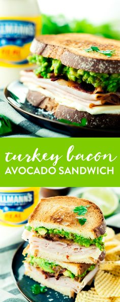 Get your lunch on with this amazingly delicious and simple Turkey Bacon Avocado Sandwich! Give it a fun twist with guacamole instead of traditional sliced avocado! | asimplepantry.com #mealinspirations AD