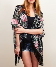 Look at this Black Floral Fringe-Trim Open Cardigan on #zulily today!