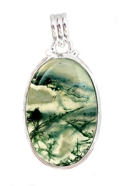 Moss Agate Oval Silver Framed Pendant for more than wealth