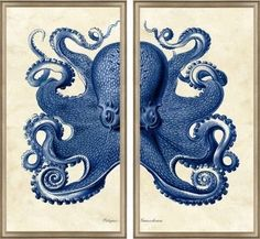 Blue Octopus Diptych Framed Wall Art. Product in photo is from www.wellappointedhouse.com