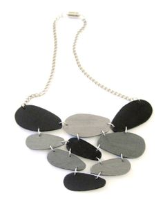 Modern geometric wooden necklace in black silver pewter by dibimi, $42.00