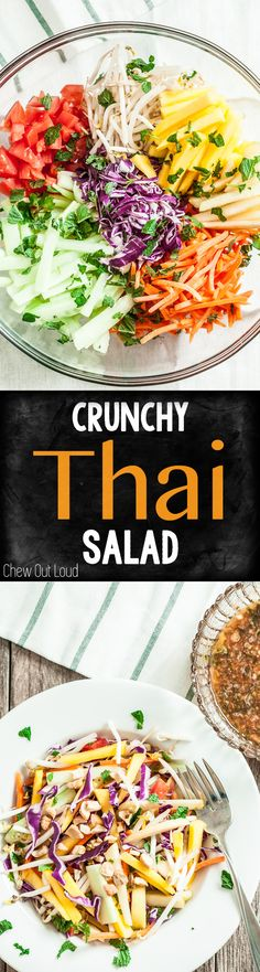 Crunchy Thai Salad. The Dressing is craaazzzy delish! Oil-free and fat-free, yet filled with flavor!