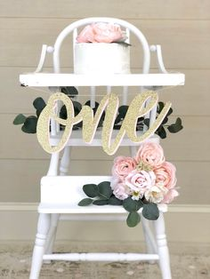 Excited to share this item from my #etsy shop: ONE High Chair Banner| Girl 1st Birthday| Glitter Gold and Pink Party| High Chair Boho Decoration| Shabby Chic First Birthday