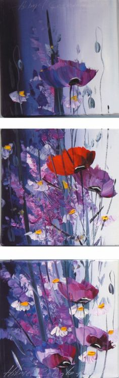 Red poppy and wildflowers painting