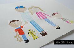 custom watercolour portrait 5 to 7 people by hazelinkshop on Etsy