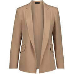 Theory - Sedeia Wool-blend Blazer ($254) ❤ liked on Polyvore featuring outerwear, jackets, blazers, beige, open front jacket, wool-blend blazer, workwear jackets, tailored jacket and brown blazer jacket