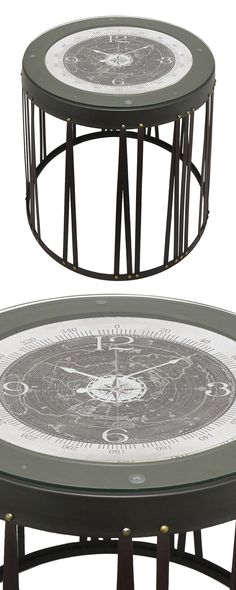 The Directional Clock End Table is truly a timely piece. Its stunning glass-covered surface boasts a compass, vintage-style map, and a conveniently functional clock. Pair this nostalgic drum-style desi...  Find the Directional Clock End Table, as seen in the Industrial Chic Collection at http://dotandbo.com/collections/industrial-chic?utm_source=pinterest&utm_medium=organic&db_sku=128359