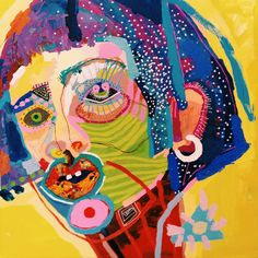 """Yellow"" painting by Natasa Kekanovic Kunst Inspo, Art Inspo, Art And Illustration, Arte Dope, Psy Art, Art Brut, Outsider Art, Psychedelic Art, Portrait Art"