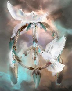 Browse through images in Carol Cavalaris' Dream Catchers collection. A collection of Dream Catcher artwork, paying tribute to the spirit and power animals that guide and enrich our lives with their beauty and message. Some dream catchers a. Native Indian, Native Art, American Indian Art, American Indians, Native American Wisdom, Motifs Animal, Dream Catchers, White Doves, Peace And Love