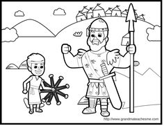 David & Goliath Coloring Page