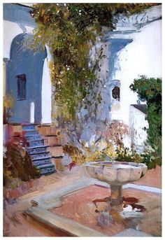 Joaquin Sorolla Y Bastida A Fountain at the Alcazar in Sevilla hand painted oil painting reproduction on canvas by artist Oil Painting For Sale, Oil Painting Abstract, Watercolor Paintings, Abstract Art, Oil Paintings, Indian Paintings, Painting Art, Landscape Paintings, Landscapes