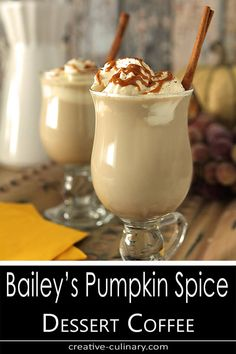 This Dessert Coffee with Bailey's Pumpkin Spice Liqueur is a special treat that is sure to warm you to your toes! via This Dessert Coffee with Bailey's Pumpkin Spice Liqueur is a special treat that is sure to warm you to your toes! Pumpkin Drinks, Pumpkin Recipes, Fall Recipes, Pumpkin Spice Baileys Recipe, Pumpkin Dessert, Healthy Recipes, Baileys Drinks, Baileys Recipes, Alcoholic Coffee Drinks