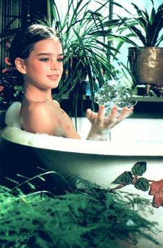 Photo of Bathing Brooke for fans of Brooke Shields. Fun with bubbles