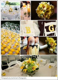 Yellow wedding inspiration board.... The table with lemons & martini cups