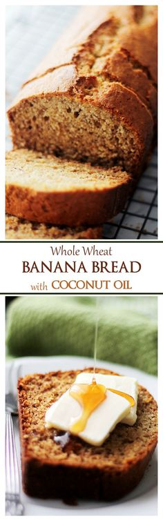 Whole Wheat Banana Bread with Coconut Oil   www.diethood.com   A delicious and super moist banana bread made healthier using whole wheat flour, sweet bananas, and coconut oil. No mixer needed!