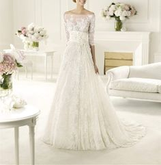 2014 Lace Wedding Dress/Illusion Neckline/Off Shoulder Long Sleeves Wedding Dress/Lace Ball Gown/ Vintage Wedding Dress AMY155