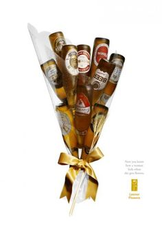 """Now you know how a woman feels when she gets flower"".  Retail Stores: ""BEER BOUQUET"" Outdoor Advert  by DDB Brasil"