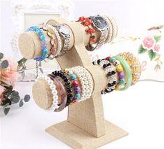 2 Tier Jewelry Hard Display Stand Holder Bracelet Bangle Necklace T-bar RA282 #Unbranded