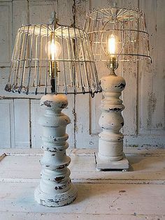 Distressed white baluster style table lamps French farmhouse large lamp set basket lampshades ooak salvaged home decor anita spero design
