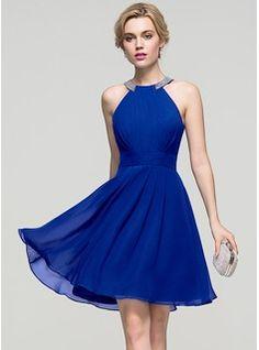 A-Line/Princess Scoop Neck Knee-Length Chiffon Homecoming Dress With Ruffle Beading (022089920)