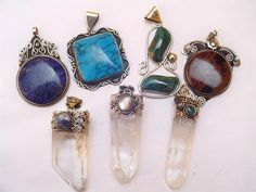 Large Semi-Precious Stone, Quartz Crystal Peruvian Pendantshttp://www.wholesaleperuvianjewelry.com