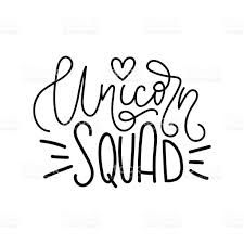 Unicorn Squad Vector poster with decor elements. Unicorn lettering phrase and inspiration quote. Design for t-shirt and prints. Magical Creatures, Unicorn Party, Squad, Poster, Royalty Free Stock Photos, Cricut, Quote Design, Inspirational Quotes, Lettering