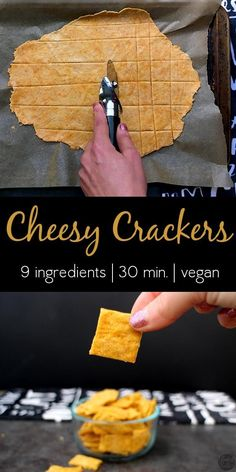 Vegan Cheez Its Vegan Cheesy Crackers are crunchy savory and remind me of vegan Cheese-Its but without the animal cruelty. The post Vegan Cheez Its appeared first on Vegan. Healthy Vegan Snacks, Vegan Appetizers, Vegan Foods, Vegan Recipes, Snack Recipes, Savory Snacks, Healthy Cookies, Diet Snacks, Vegan Meals