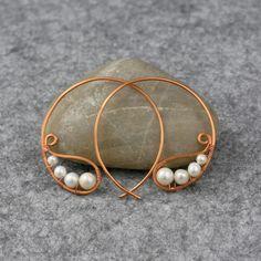 Pearl copper wiring hoop Earring handmade