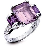 MAUBOUSSIN: COLOUR KISS RING IN WHITE GOLD WITH ROSE DE FRANCE AMETHYST AND DIAMONDS