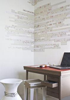 Magnetic Wallpaper - Romantic Patchwork Wall Made with Magnetic Strips of Wallpaper, Design by van Vij5 - Great for Personal Interior Decoration!