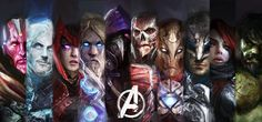 Medieval Vision, Quicksilver, Scarlet Witch, Thor, Hawkeye, Ultron, Iron Man, Cap, Black Widow, Hulk.