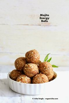 The best Mojito energy balls. With or without alcohol. How to make non-alcoholic Vegan Mojito Balls. Snack bites with Dates, lime zest, mint, nuts and seeds. Raw Food Recipes, Gluten Free Recipes, Snack Recipes, Cooking Recipes, Vegetarian Recipes, Dessert Recipes, Vegan Sweets, Vegan Snacks, Healthy Snacks