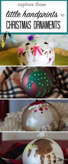 These will look so cute in the Christmas tree! DIY Handprint Christmas Ornament Ideas! Waht an adorable Christmas craft to make with the kids this holiday!