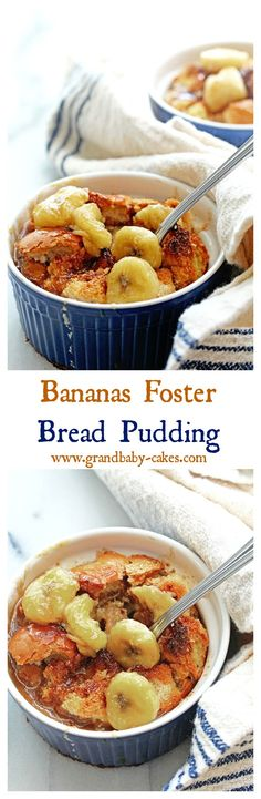 Decadent Bananas Fosters Bread Pudding sure to knock your socks off! ~ http://www.grandbaby-cakes.com