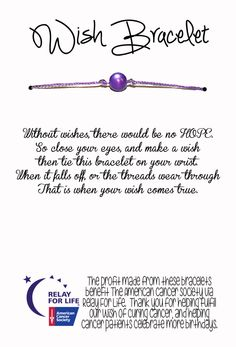 Relay For Life Wish Bracelet  Fundraising / Gift by 1GreatThing, $30.00