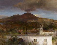 Achenbach, Oswald Düsseldorf 1827 - 1905 Mondnacht über Neapel mit Blick auf den Vesuv. Öl auf L