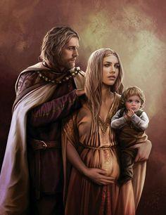 Jaehaerys I con Alysanne Targaryen  El Conciliador o el Viejo Rey, con su esposa hermana la Bondadosa Reina Alysanne, quien porta en brazos a su hijo el príncipe Aemon.