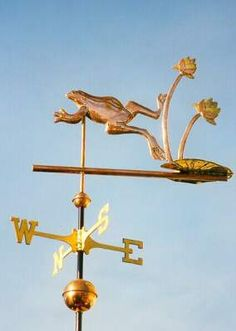Frog and Lily Pad Weather Vane by West Coast Weather Vanes.  This handcrafted…