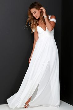 Possible dress for Andrea for my wedding.Bariano Ocean of Elegance Ivory Maxi Dress at Lulus.com!