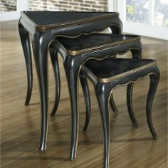 Black Gold Nesting Tables by Pulaski. $320.04. Warm medium wood stain. Shaped aprons. Decorative three legged bases. Distressed finish. Cabriolet leg design. Black Gold Nesting TablesThree tables fit togetherMortise and tenon jointNesting tablesHardwoods and veneers constructionAssembled Size Height 25 in.Assembled Size Width 20 in.Assembled Size Length 23 in.Shipping Dimensions 25 in. H x 23 in. W x 20 in. D