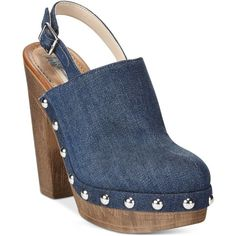 Inc International Concepts Women's Ashmee Clogs, ($52) ❤ liked on Polyvore featuring shoes, clogs, blue denim, blue platform shoes, blue denim shoes, buckle shoes, inc international concepts shoes and inc international concepts