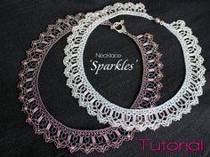 Tutorial for beadwoven necklace 'Sparkles' PDF
