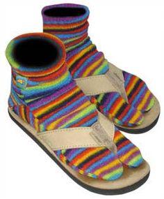 SOL SOCKS - Striped Flip Flop Sock. Polarfleece socks with split toe for flip-flips. Midweight fleece. $15.95 + shipping & handling.