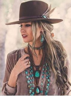 Boho Jewelry J. Forks Hats These hats feature a J. forks turquoise band w/feather. Forks Hats These hats feature a J. forks turquoise band w/feather. Cowgirl Chic, Western Chic, Cowgirl Mode, Estilo Cowgirl, Estilo Hippie, Gypsy Cowgirl Style, Cowgirl Tuff, Cowgirl Hats, Western Wear