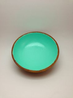Upcycled - Desk/Jewelry Organizer - Wooden Bowl - Teal - Painted - Glossy